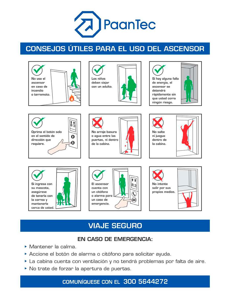 Consejos útiles para el uso del ascensor